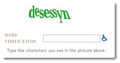 Screen shot of Blogger CAPTCHA with audio option