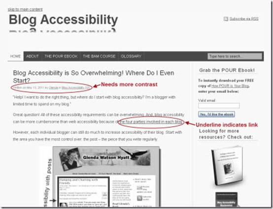 Blog Accessible site viewed in gray scale