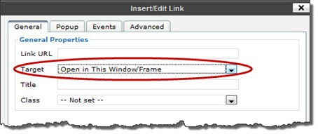 Insert/Edit Link dialog box in Visual View in WordPress