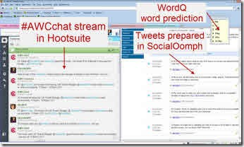 Glenda's coomputer screen while hosting a tweetchat