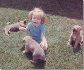 Young Glenda sitting on thhe grass, surrounded by Collie puppies